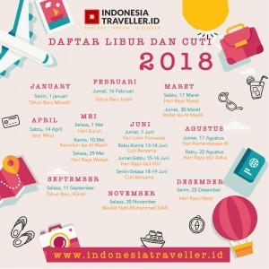 Kalender tahun 2018, hari libur dan cuti bersama. Indonesia Traveller Guide.